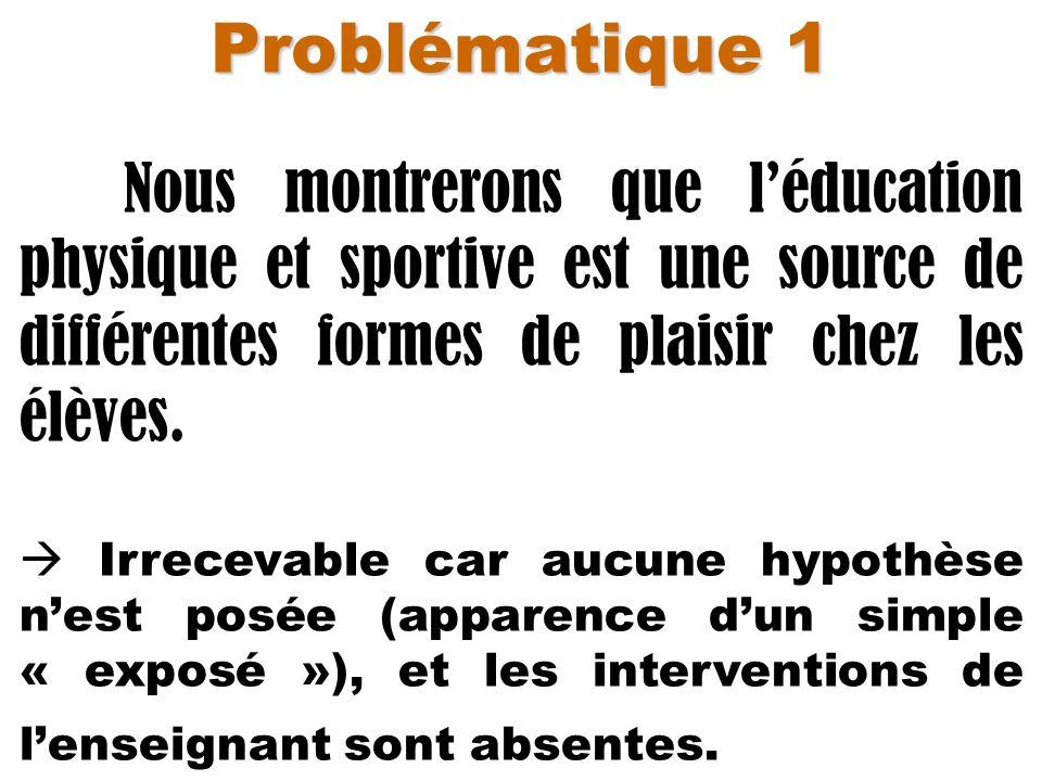 Problématique 1 Nous montrerons que l'éducation physique et sportive est une source de différentes formes de plaisir chez les élèves.