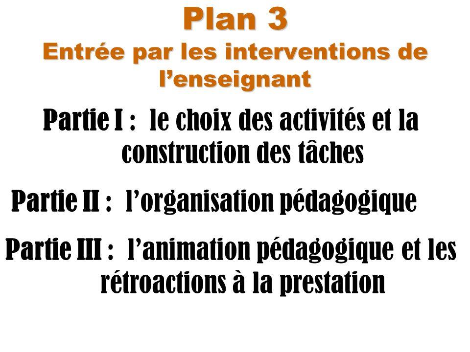 Plan 3 Entrée par les interventions de l'enseignant