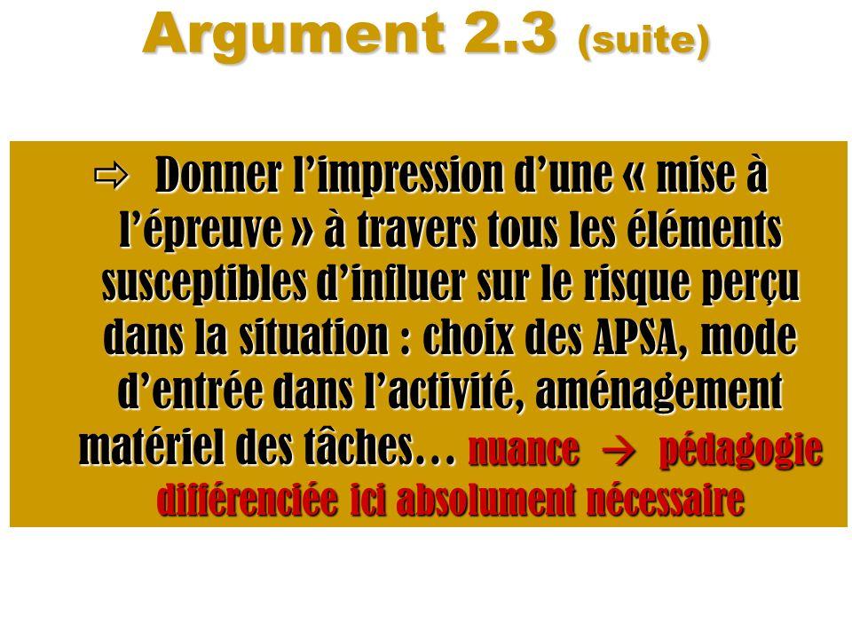 Argument 2.3 (suite)