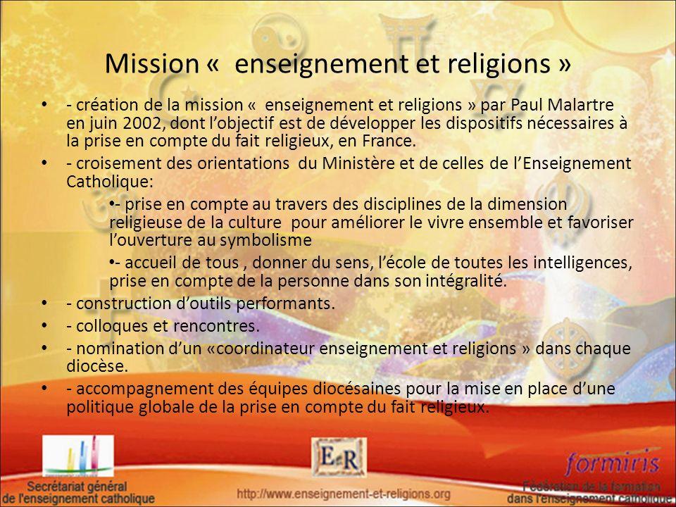 Mission « enseignement et religions »