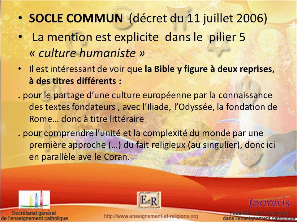 SOCLE COMMUN (décret du 11 juillet 2006)