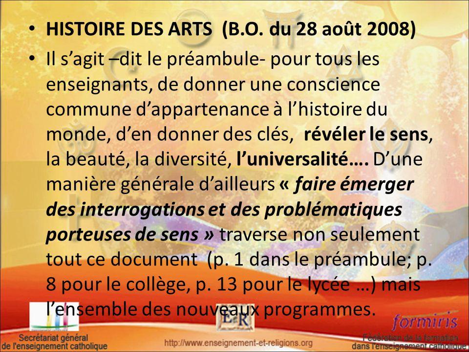 HISTOIRE DES ARTS (B.O. du 28 août 2008)