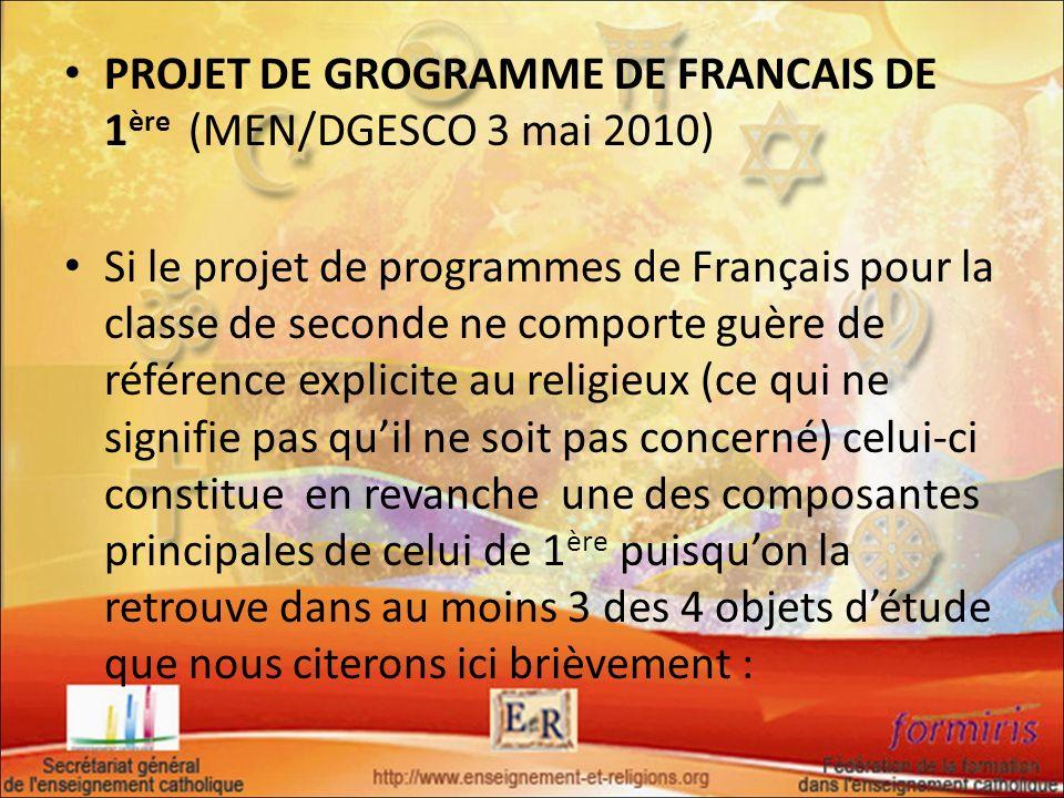 PROJET DE GROGRAMME DE FRANCAIS DE 1ère (MEN/DGESCO 3 mai 2010)