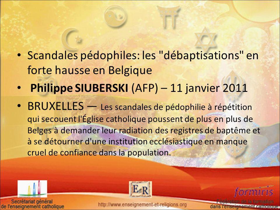 Scandales pédophiles: les débaptisations en forte hausse en Belgique