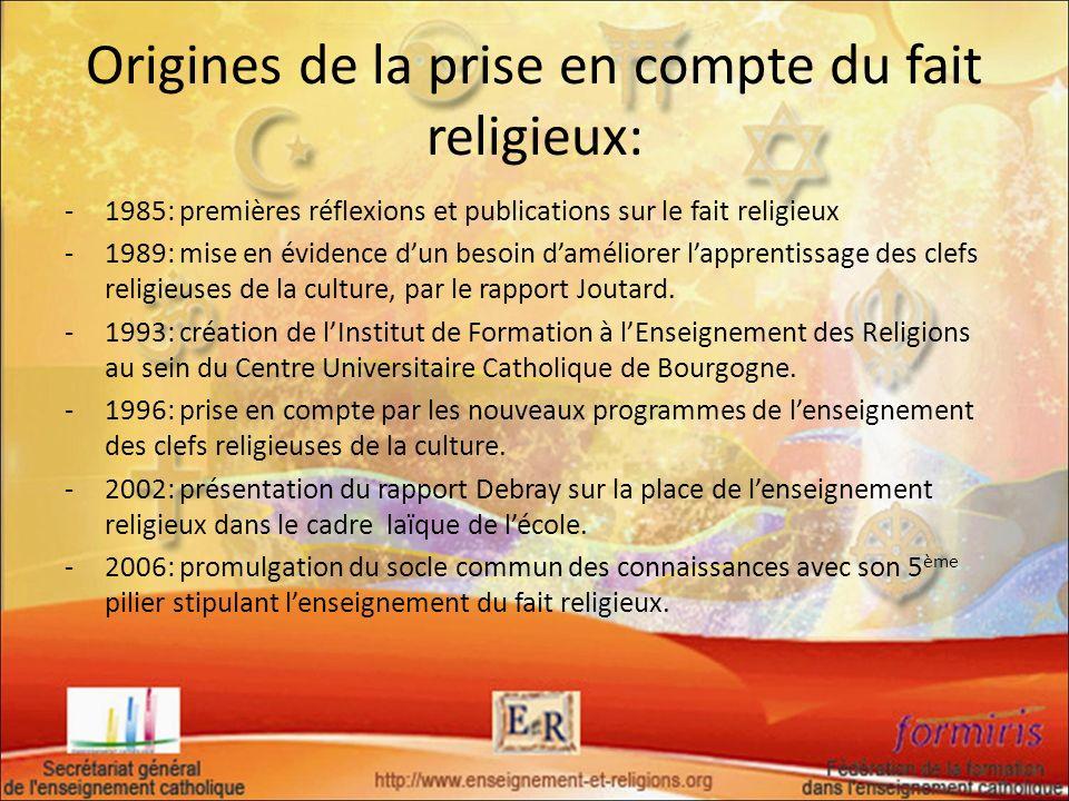 Origines de la prise en compte du fait religieux: