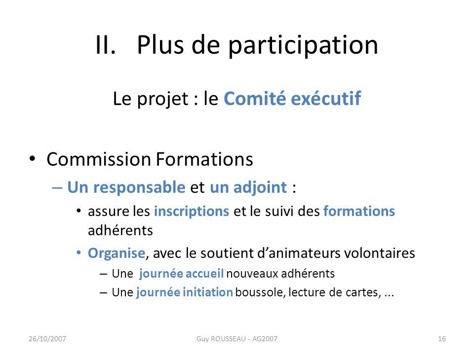 II. Plus de participation