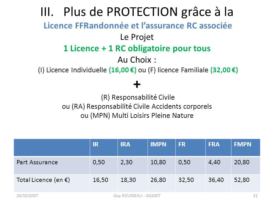 III. Plus de PROTECTION grâce à la Licence FFRandonnée et l'assurance RC associée Le Projet 1 Licence + 1 RC obligatoire pour tous Au Choix : (I) Licence Individuelle (16,00 €) ou (F) licence Familiale (32,00 €) + (R) Responsabilité Civile ou (RA) Responsabilité Civile Accidents corporels ou (MPN) Multi Loisirs Pleine Nature
