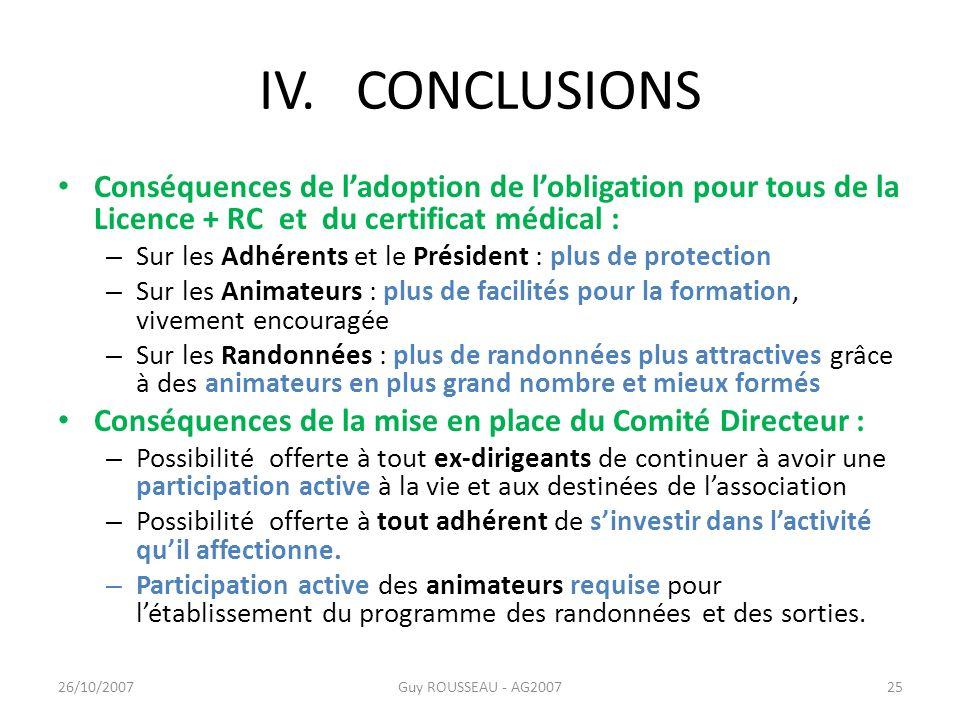 IV. CONCLUSIONS Conséquences de l'adoption de l'obligation pour tous de la Licence + RC et du certificat médical :