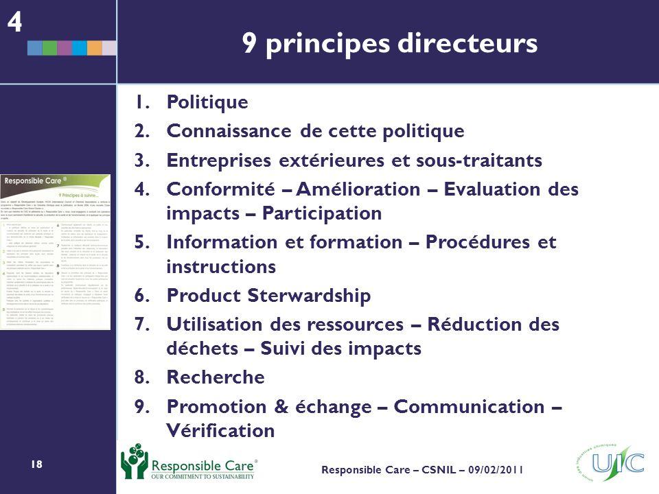 4 9 principes directeurs Politique Connaissance de cette politique