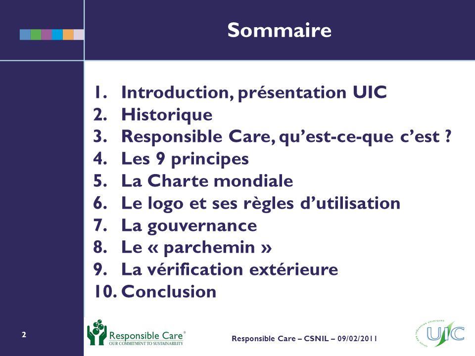 Sommaire Introduction, présentation UIC Historique