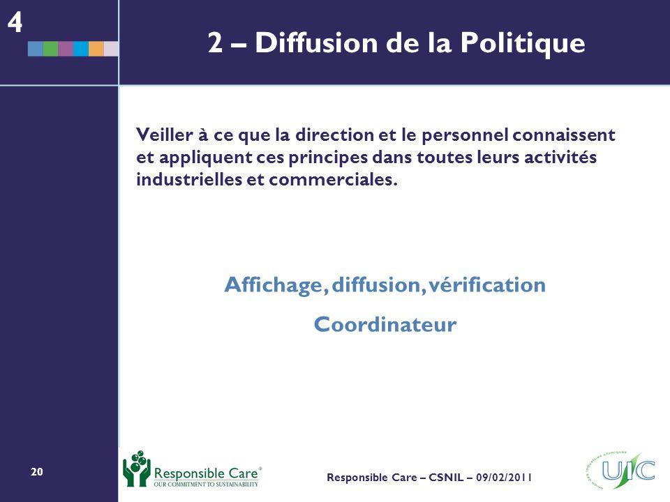 2 – Diffusion de la Politique
