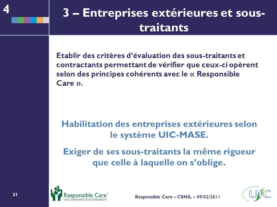 3 – Entreprises extérieures et sous-traitants