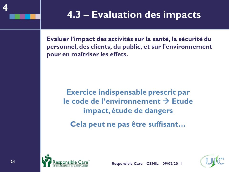 4.3 – Evaluation des impacts