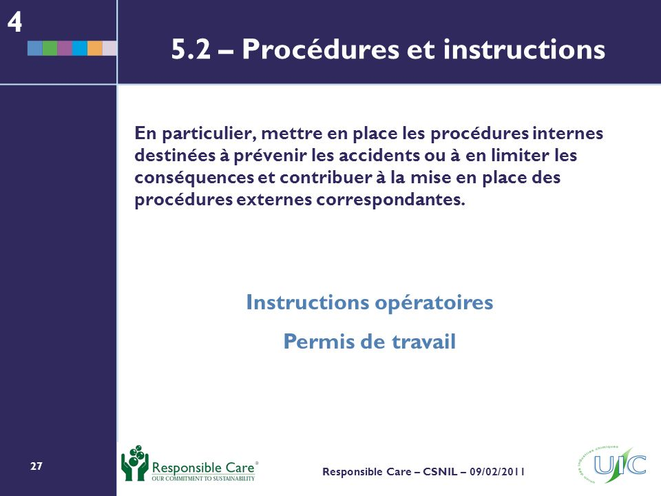 5.2 – Procédures et instructions