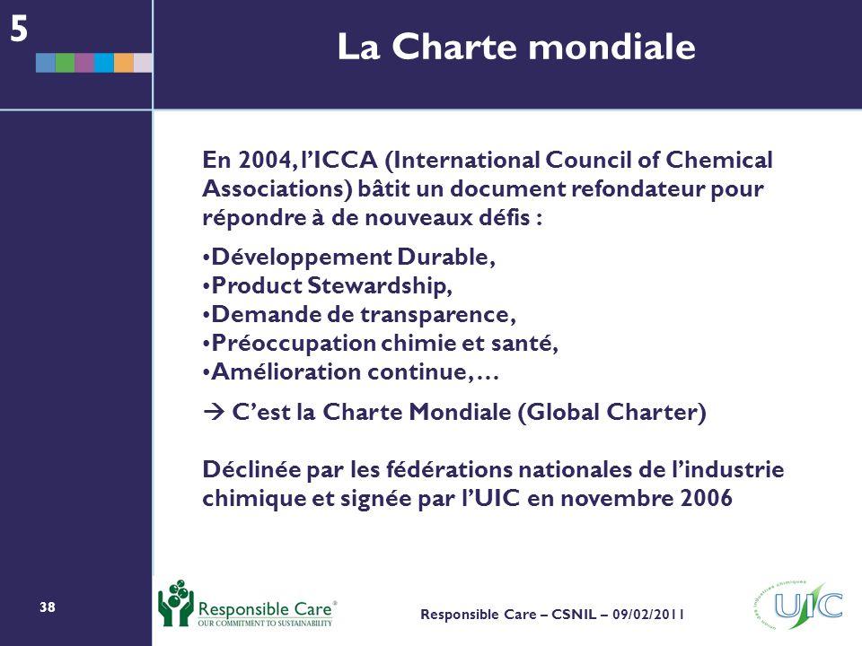 5 La Charte mondiale.