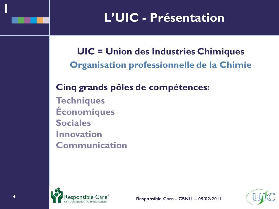 1 L'UIC - Présentation UIC = Union des Industries Chimiques