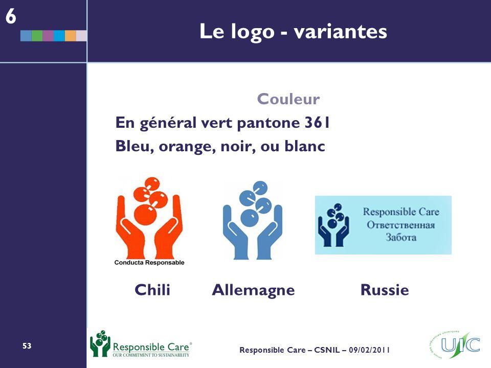 6 Le logo - variantes Couleur En général vert pantone 361