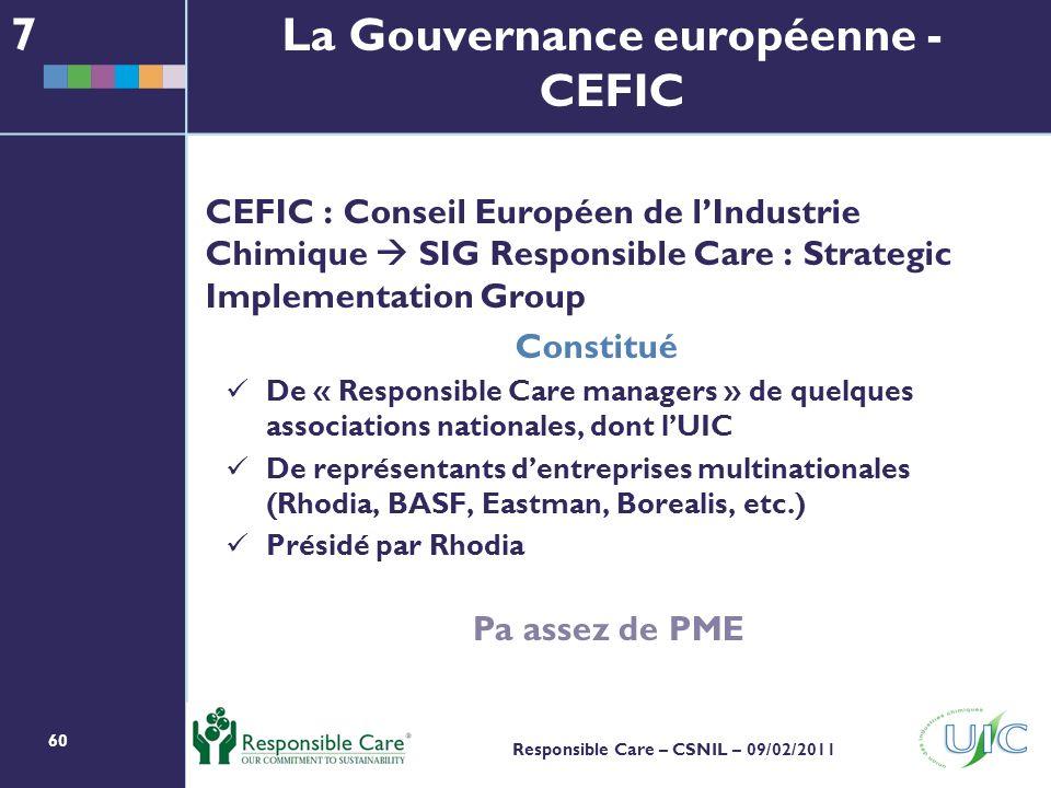 La Gouvernance européenne - CEFIC