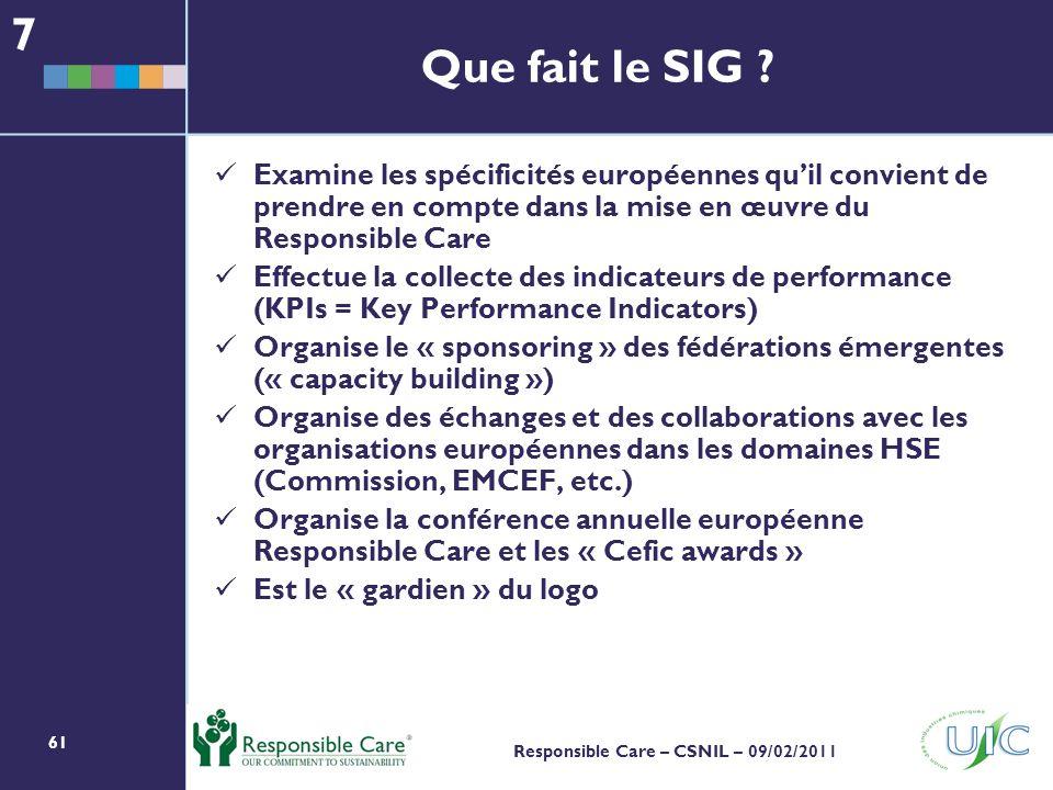 7 Que fait le SIG Examine les spécificités européennes qu'il convient de prendre en compte dans la mise en œuvre du Responsible Care.