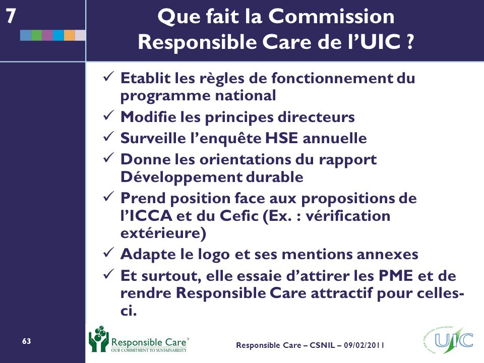 Que fait la Commission Responsible Care de l'UIC
