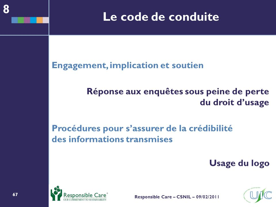 8 Le code de conduite Engagement, implication et soutien