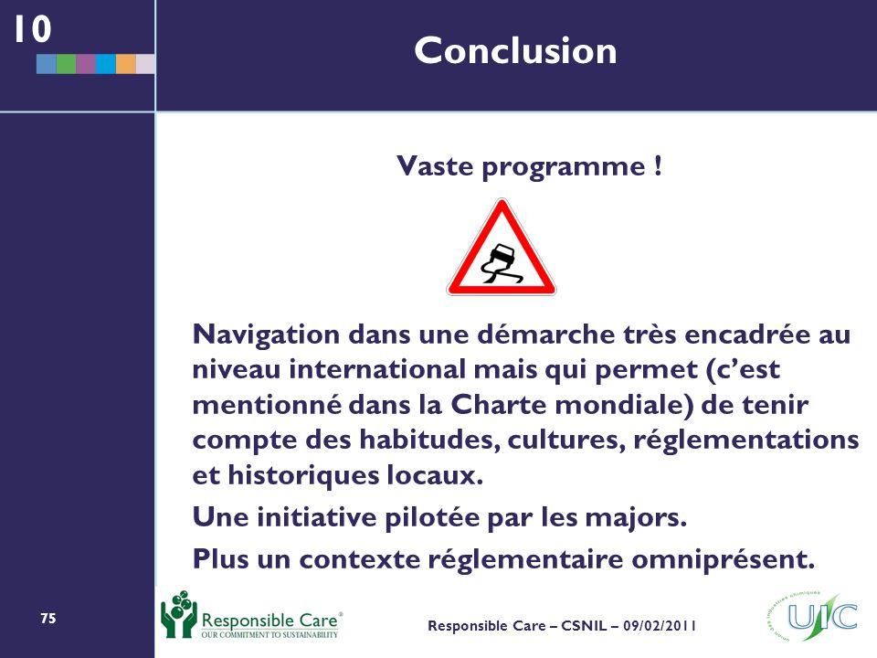 10 Conclusion Vaste programme !
