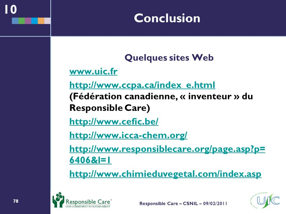 10 Conclusion Quelques sites Web