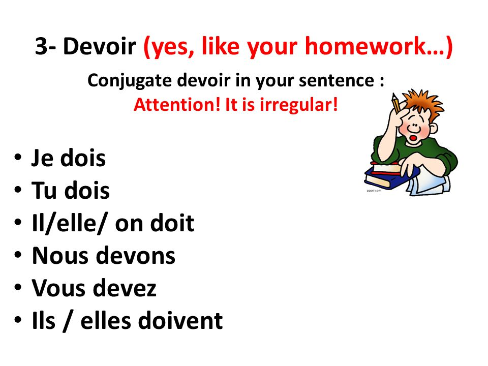 3- Devoir (yes, like your homework…)