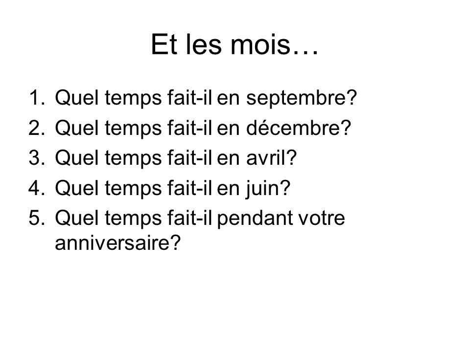 Et les mois… Quel temps fait-il en septembre