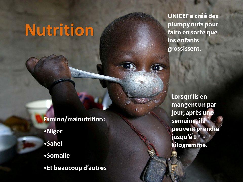 UNICEF a créé des plumpy nuts pour faire en sorte que les enfants grossissent.