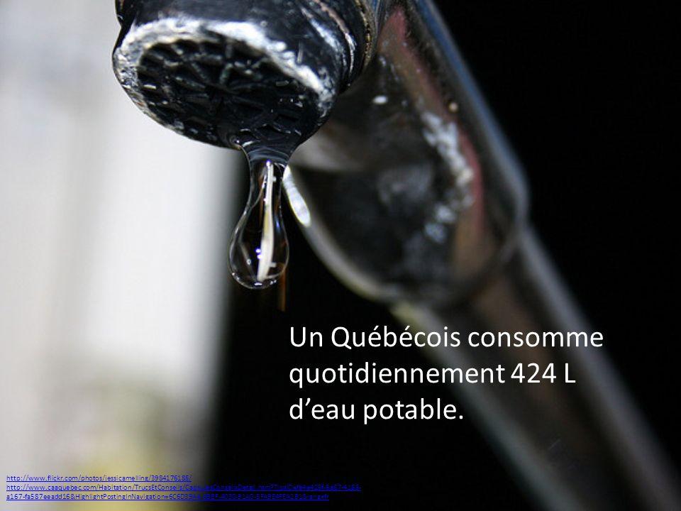 Un Québécois consomme quotidiennement 424 L d'eau potable.