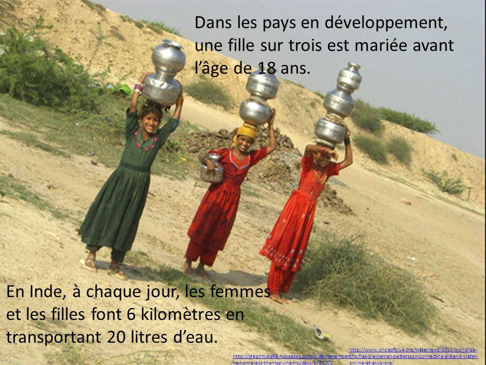 Dans les pays en développement, une fille sur trois est mariée avant l'âge de 18 ans.