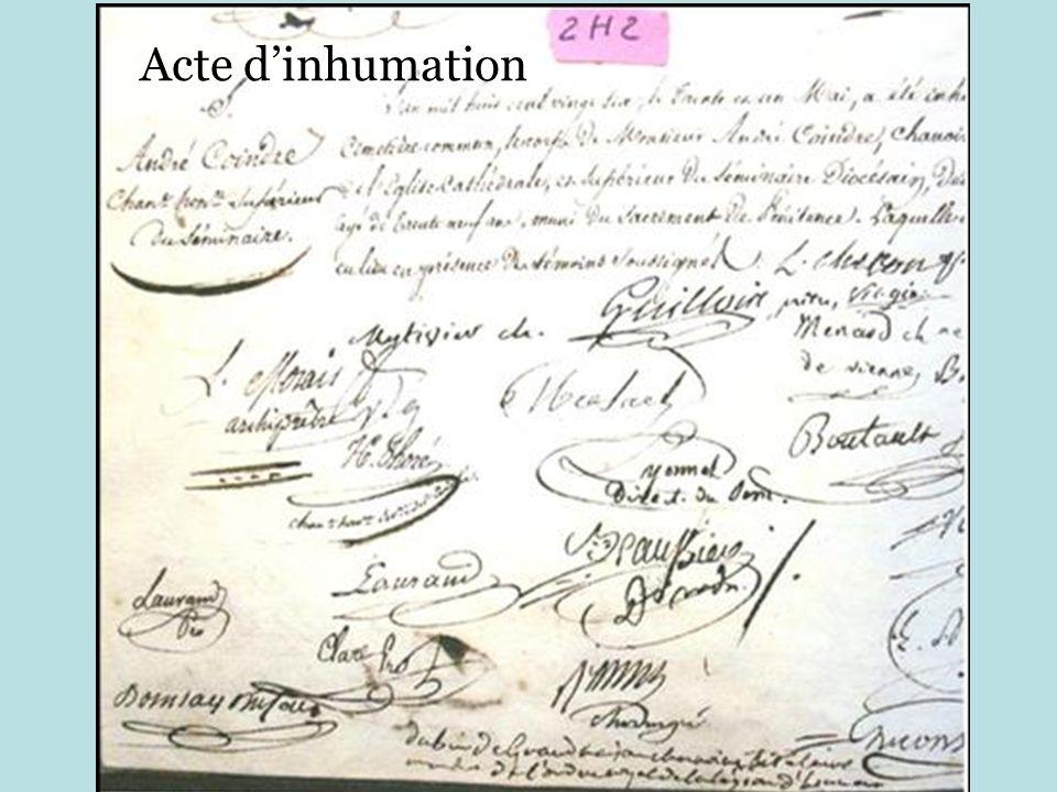 Acte d'inhumation
