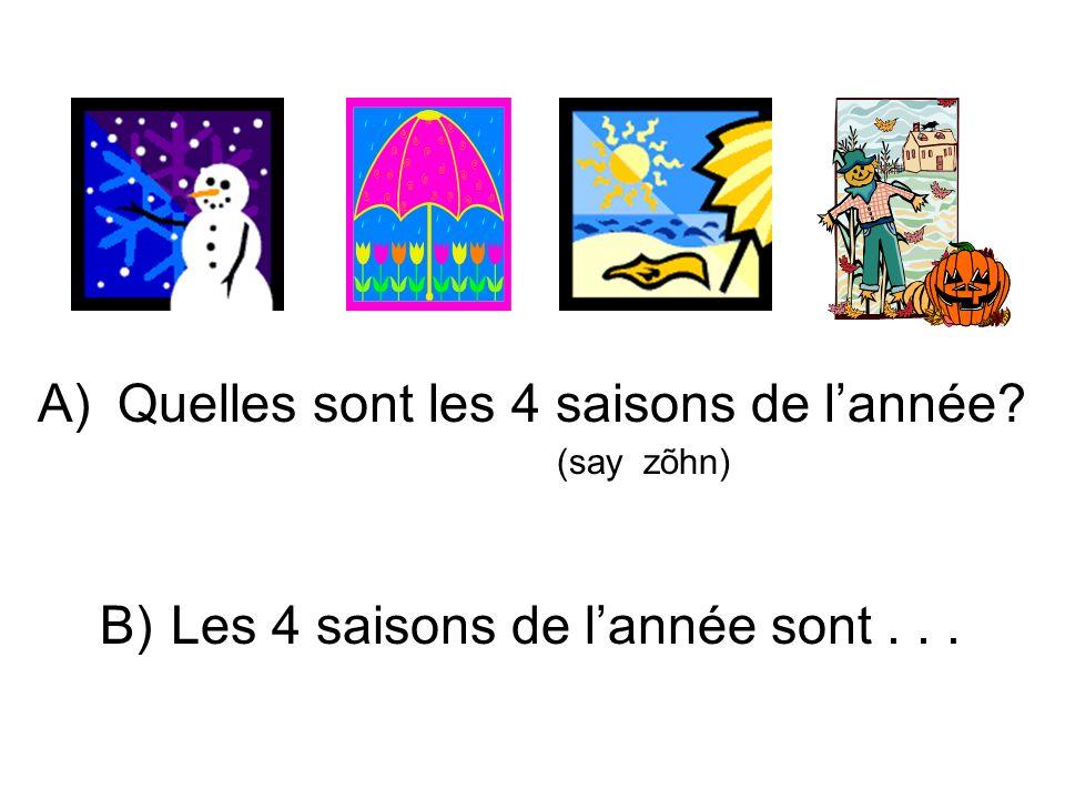 Quelles sont les 4 saisons de l'année (say zõhn)