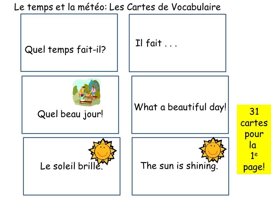 Le temps et la météo: Les Cartes de Vocabulaire