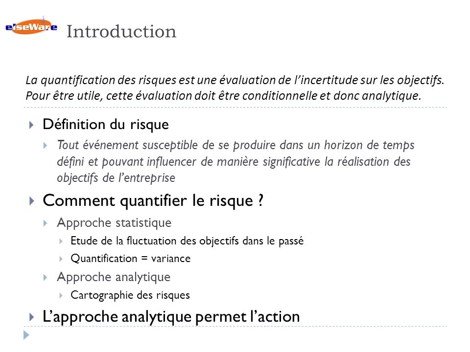 Introduction Comment quantifier le risque
