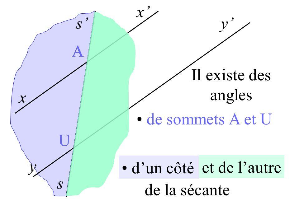 x' s' y' A A Il existe des angles x de sommets A et U U U y d'un côté et de l'autre s de la sécante
