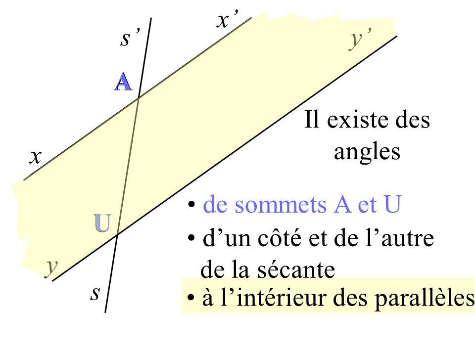 x' s' y' A. A. Il existe des angles. x. de sommets A et U. U. U. d'un côté et de l'autre. de la sécante.