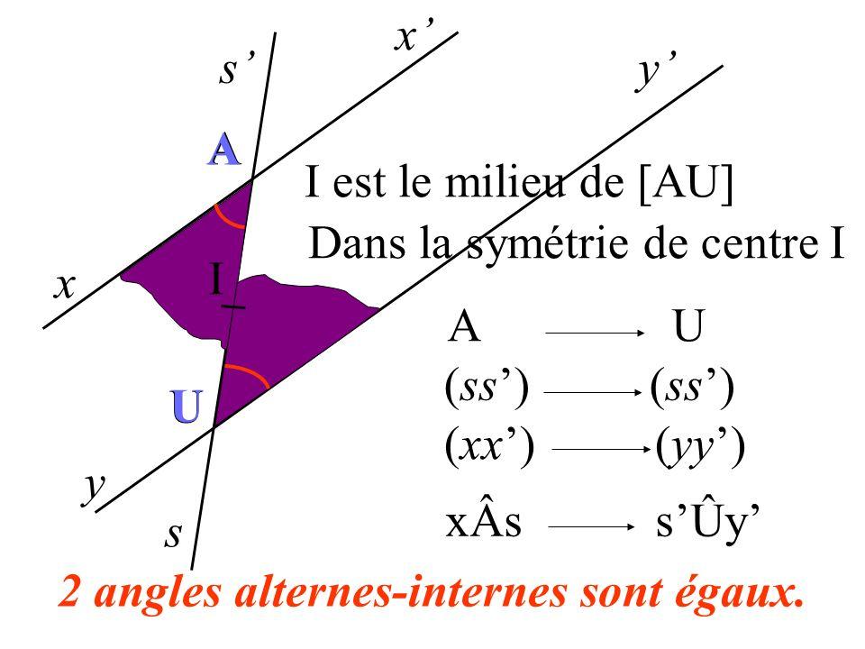 2 angles alternes-internes sont égaux.