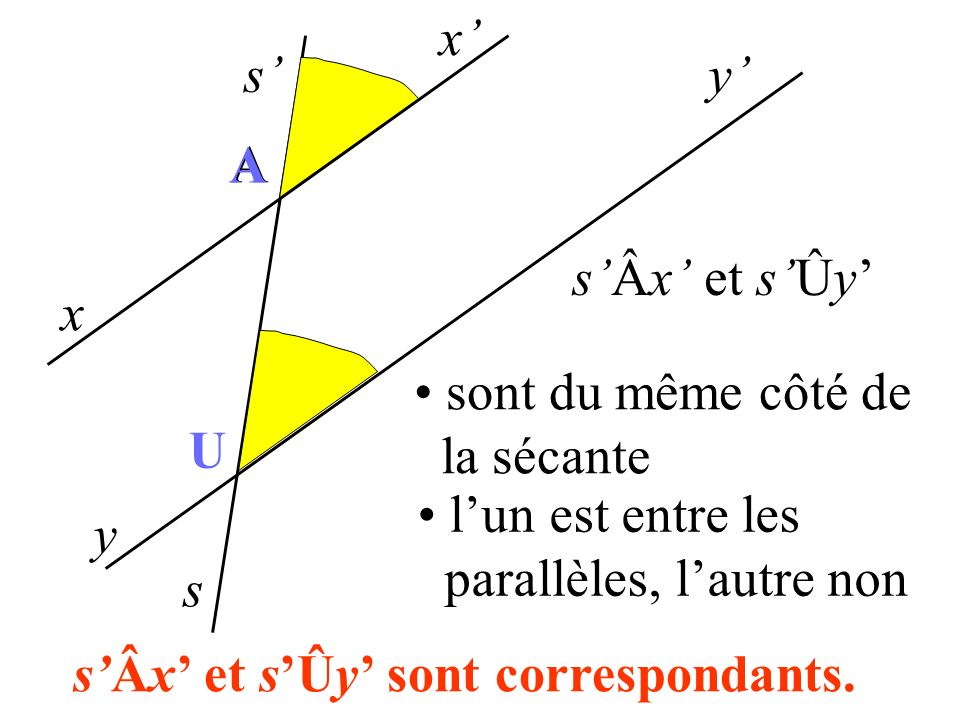 x' s' y' A. A. s'Âx' et s'Ûy' x. sont du même côté de. la sécante. U. l'un est entre les. parallèles, l'autre non.