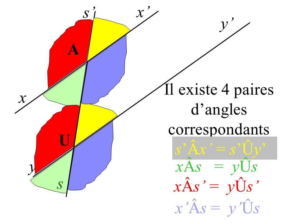 Il existe 4 paires d'angles correspondants