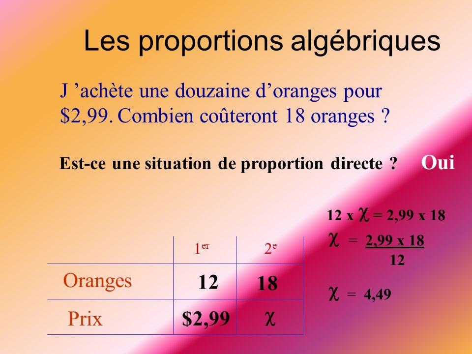  = 2,99 x 18  = 4,49 Les proportions algébriques