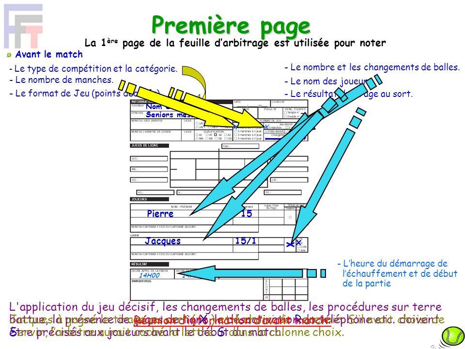 La 1ère page de la feuille d'arbitrage est utilisée pour noter