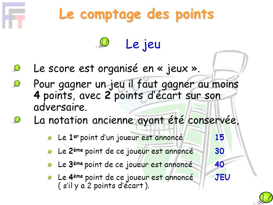 Le comptage des points Le jeu Le score est organisé en « jeux ».