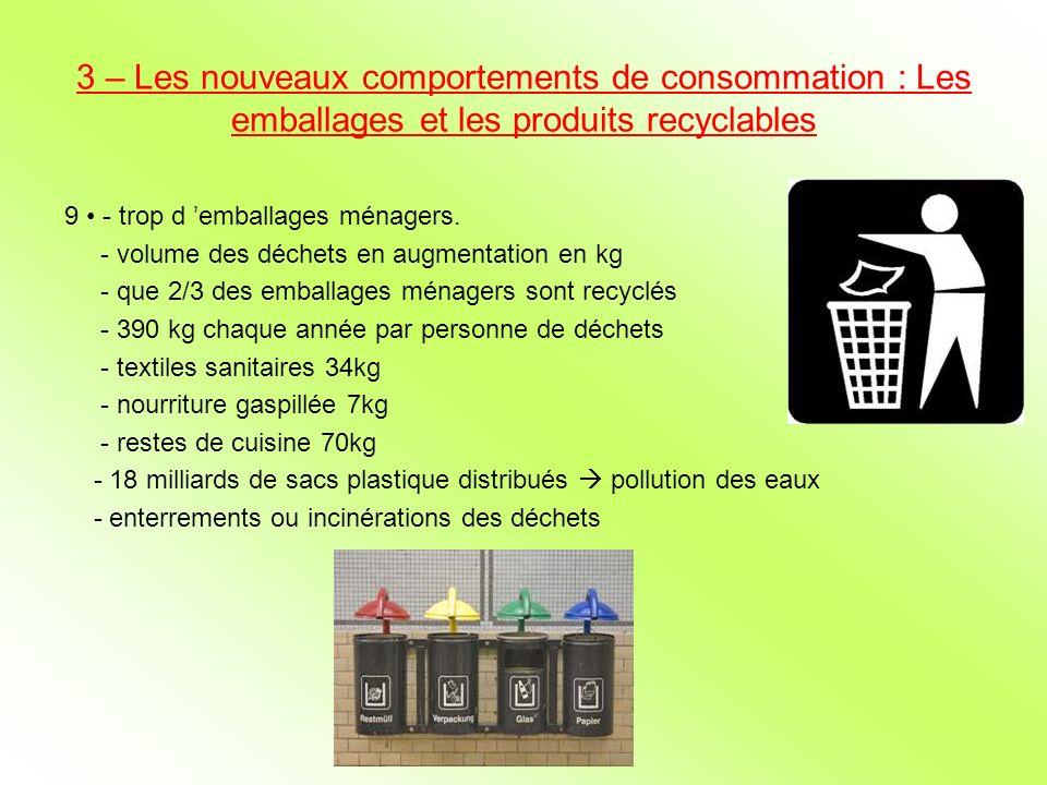 3 – Les nouveaux comportements de consommation : Les emballages et les produits recyclables