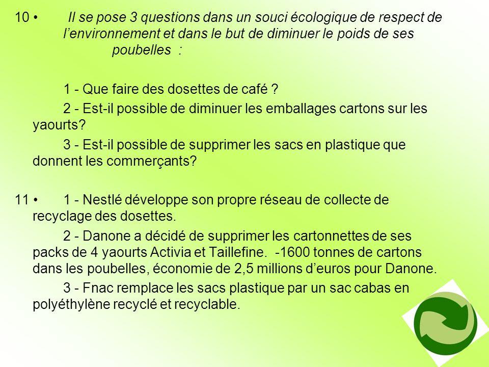 10 • Il se pose 3 questions dans un souci écologique de respect de