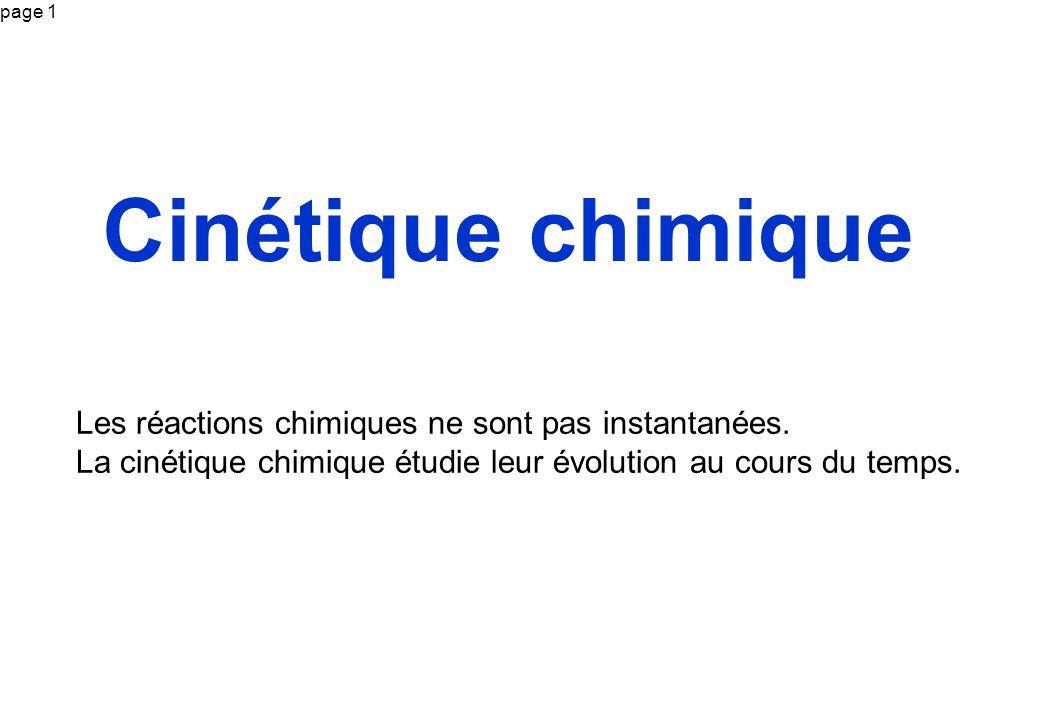 Cinétique chimique Les réactions chimiques ne sont pas instantanées.