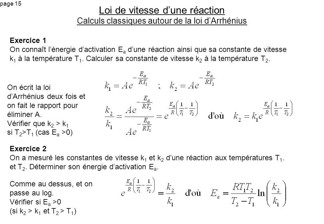 Loi de vitesse d'une réaction Calculs classiques autour de la loi d'Arrhénius