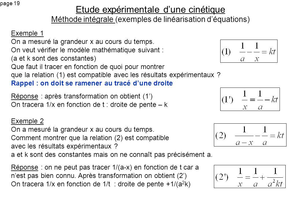 Etude expérimentale d'une cinétique Méthode intégrale (exemples de linéarisation d'équations)