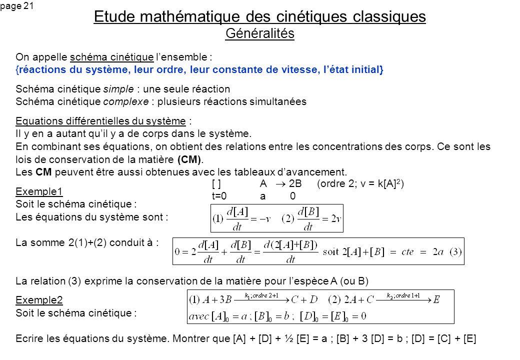 Etude mathématique des cinétiques classiques Généralités